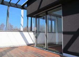 Outside view of sliding door system