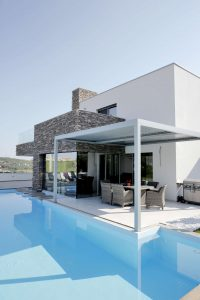 Pergola is used for natural ventilation and protection.
