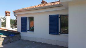 Aluminum shutters installed on a house on Slovenian coast.